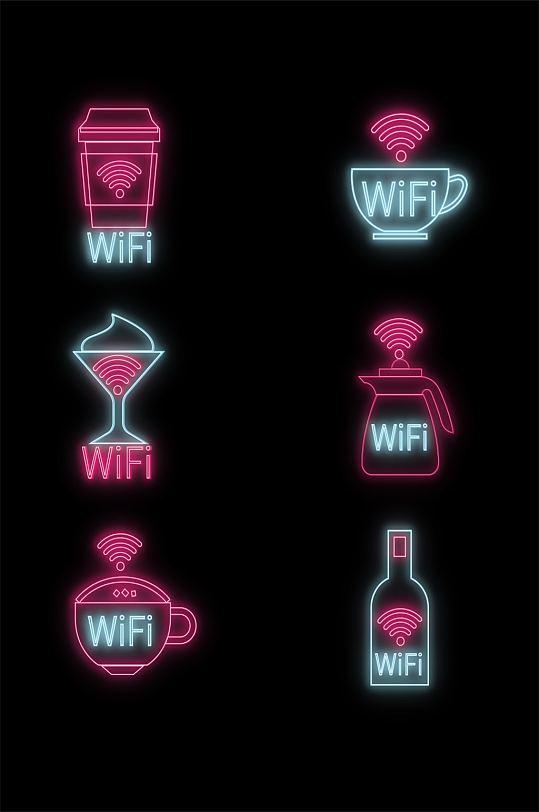 霓虹灯线条创意餐厅酒吧咖啡厅WIFI导视系统发光门牌标识