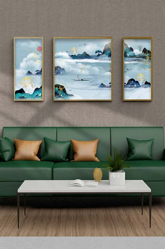 抽象山水飞鸟晶瓷装饰画-众图网