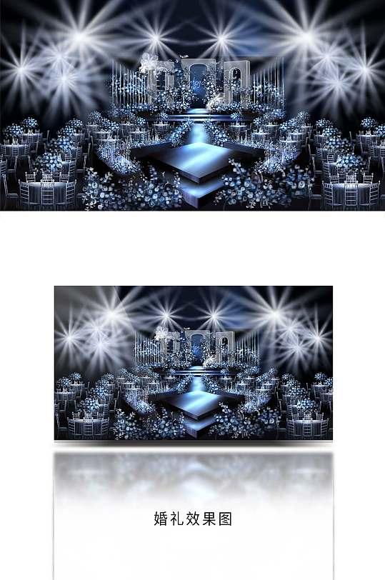 蓝色婚礼舞台背景效果图-众图网
