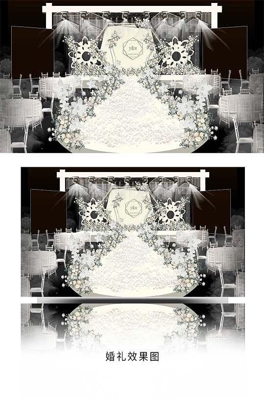 白色的婚礼场布效果图-众图网