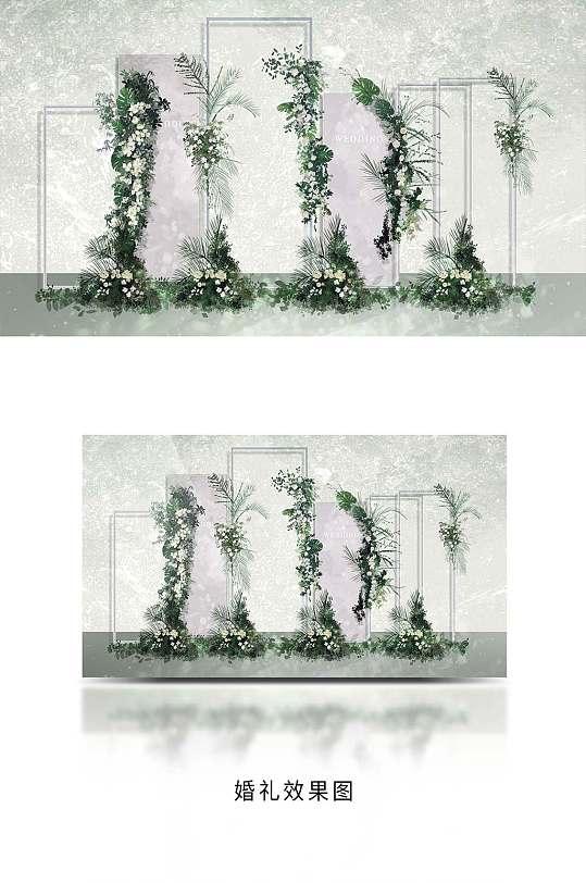 白绿小清新户外婚礼布置效果图-众图网