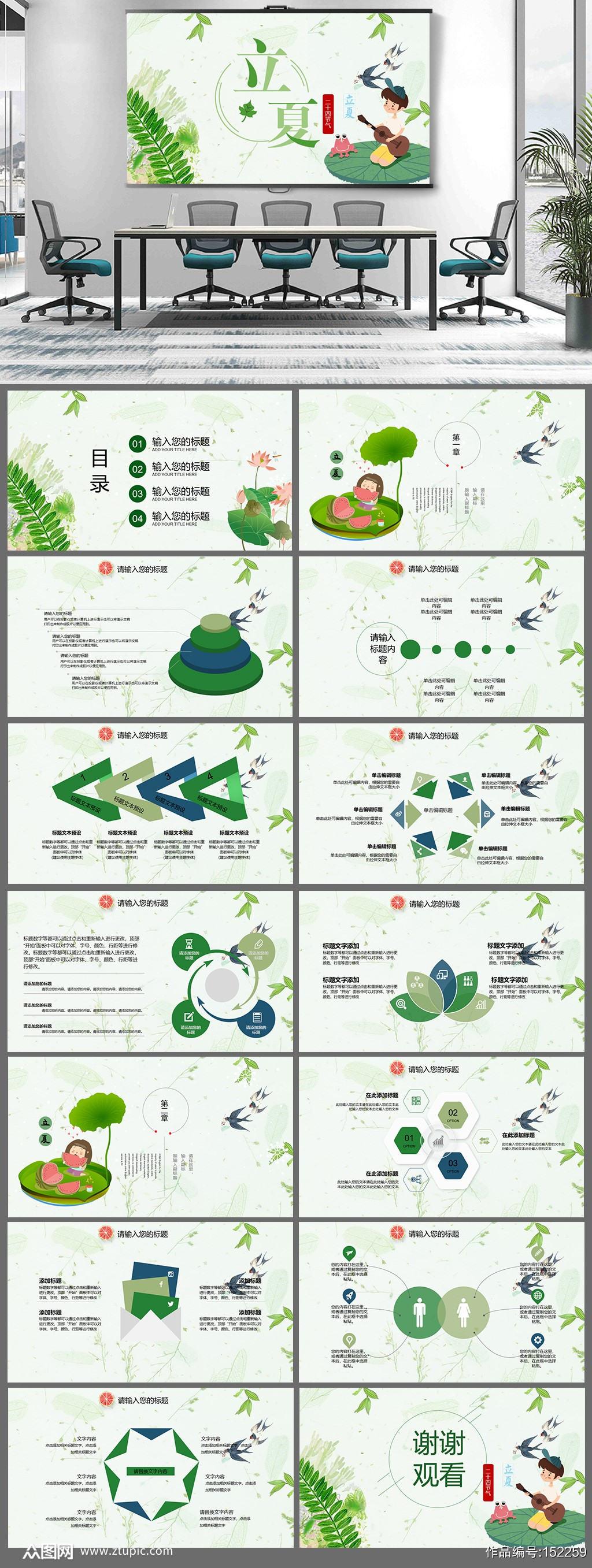 绿色水彩风格立夏PPT素材