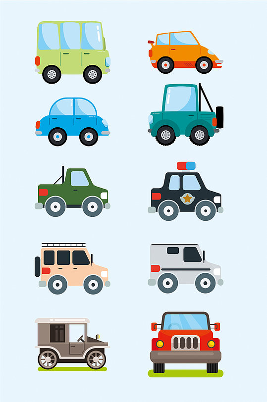 创意卡通彩色矢量小汽车-众图网