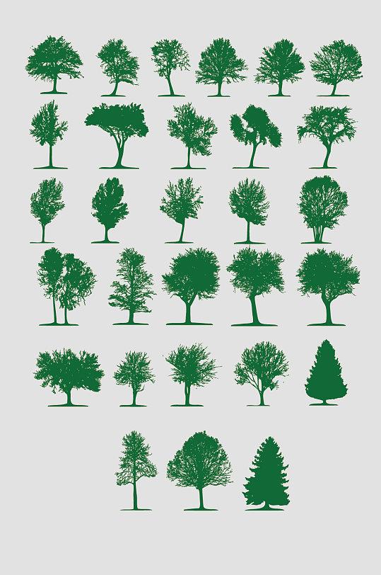 矢量树木树AI剪影 大树矢量图
