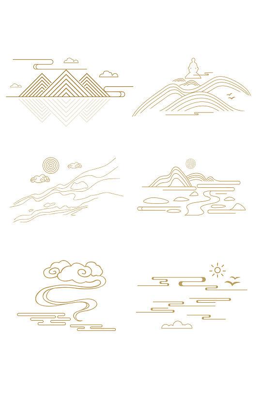 矢量中式山纹祥云纹中国风山水装饰线图片元素