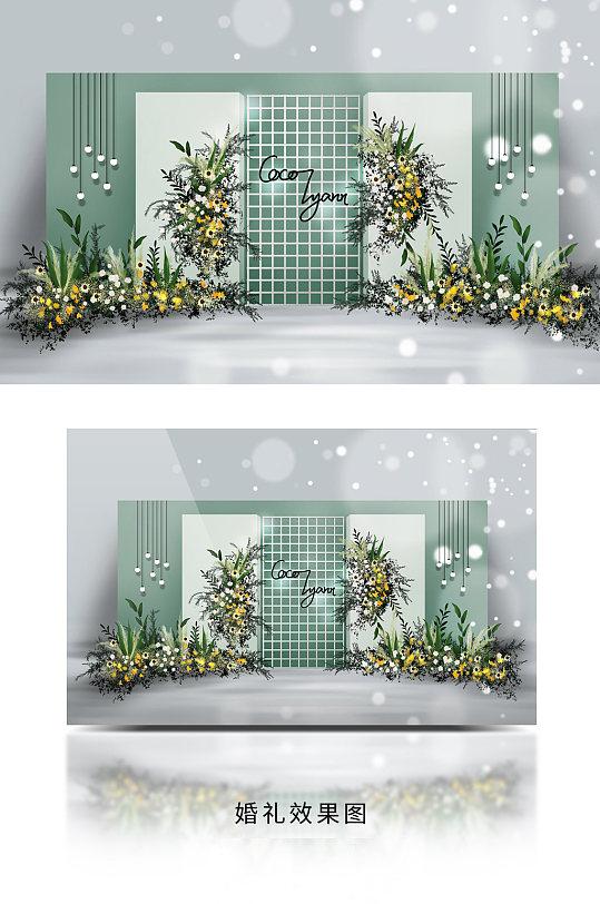 春季简约INS风黄色撞色小清新婚礼效果图-众图网