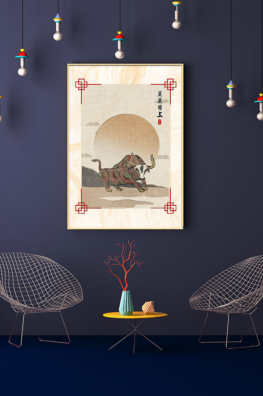 牛年春节蒸蒸日上喜庆新中式玄关装饰画-众图网