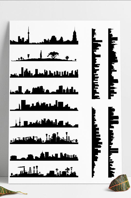 城市建筑明珠塔上海矢量图剪影AI背景装饰