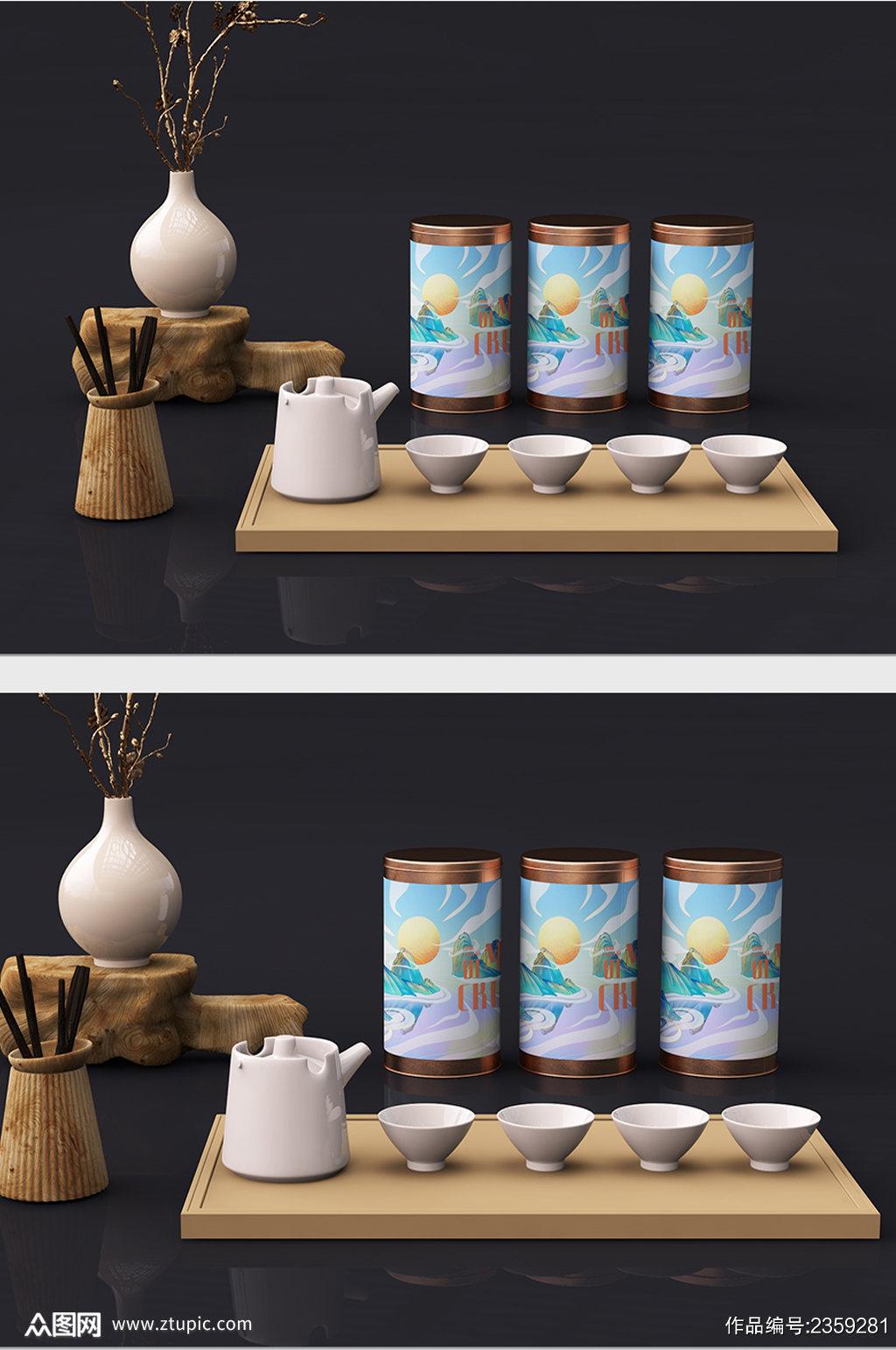 国风高端茶叶茶礼盒包装设计展示样机素材