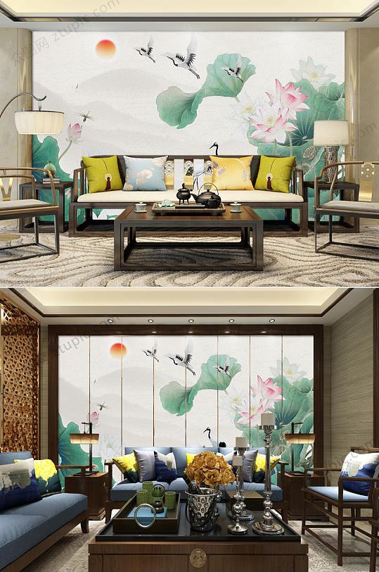 新中式荷花飞鹤电视背景墙-众图网