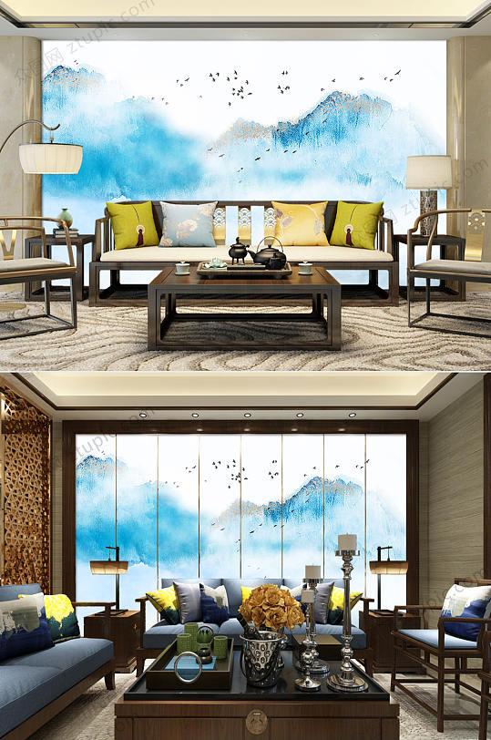 新中式抽象水墨电视背景墙-众图网