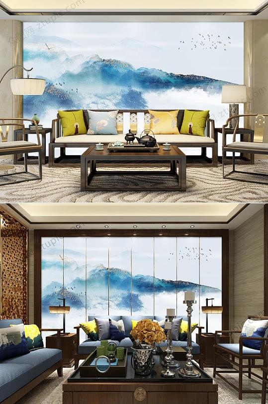 中国风水墨山水电视背景墙-众图网