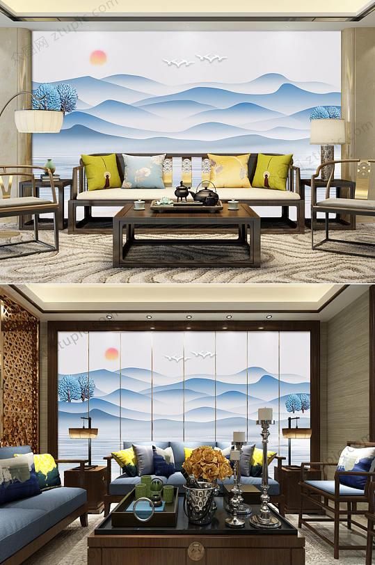 新中式蓝色水墨山水背景墙-众图网