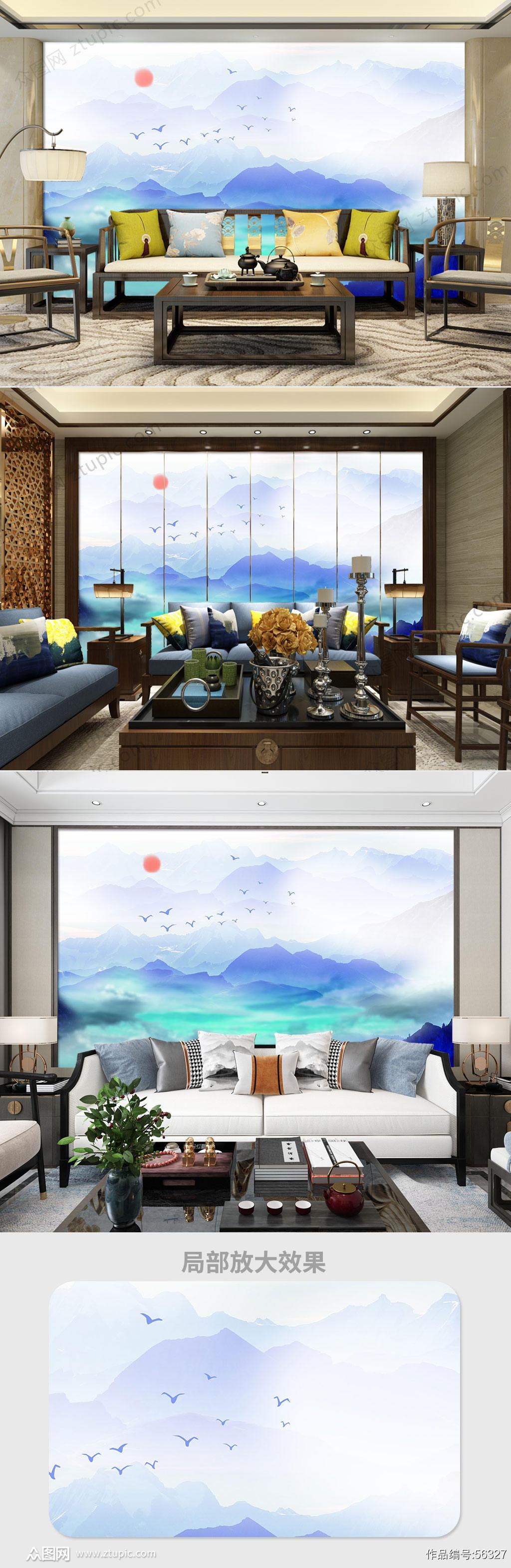 新中式水墨山水电视背景墙素材