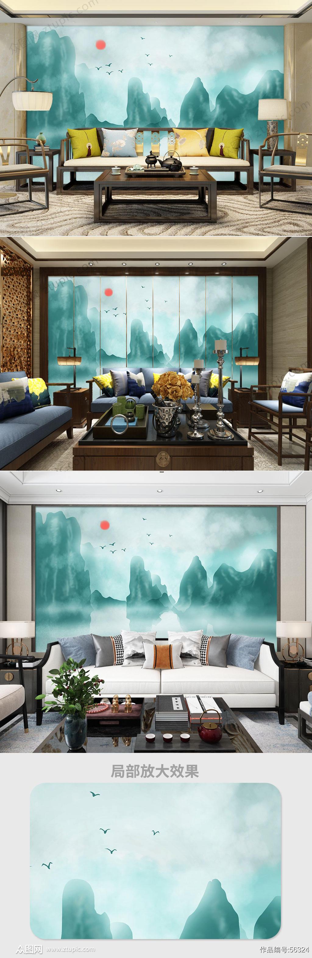 大气山水山流水电视背景墙素材