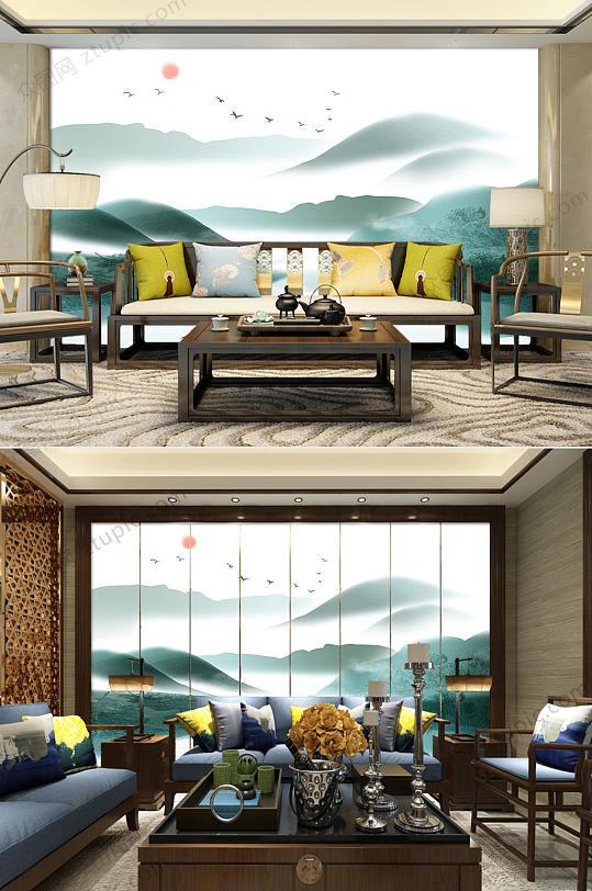 水墨山水客厅电视背景墙-众图网