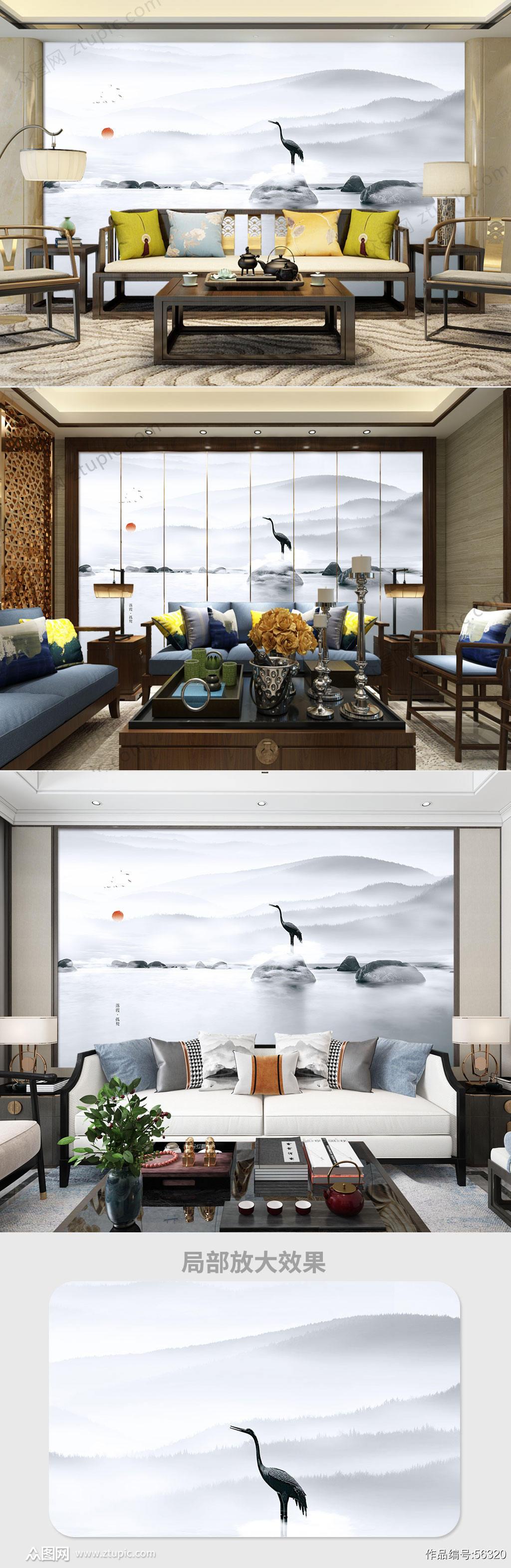 意境水墨山水电视背景墙素材