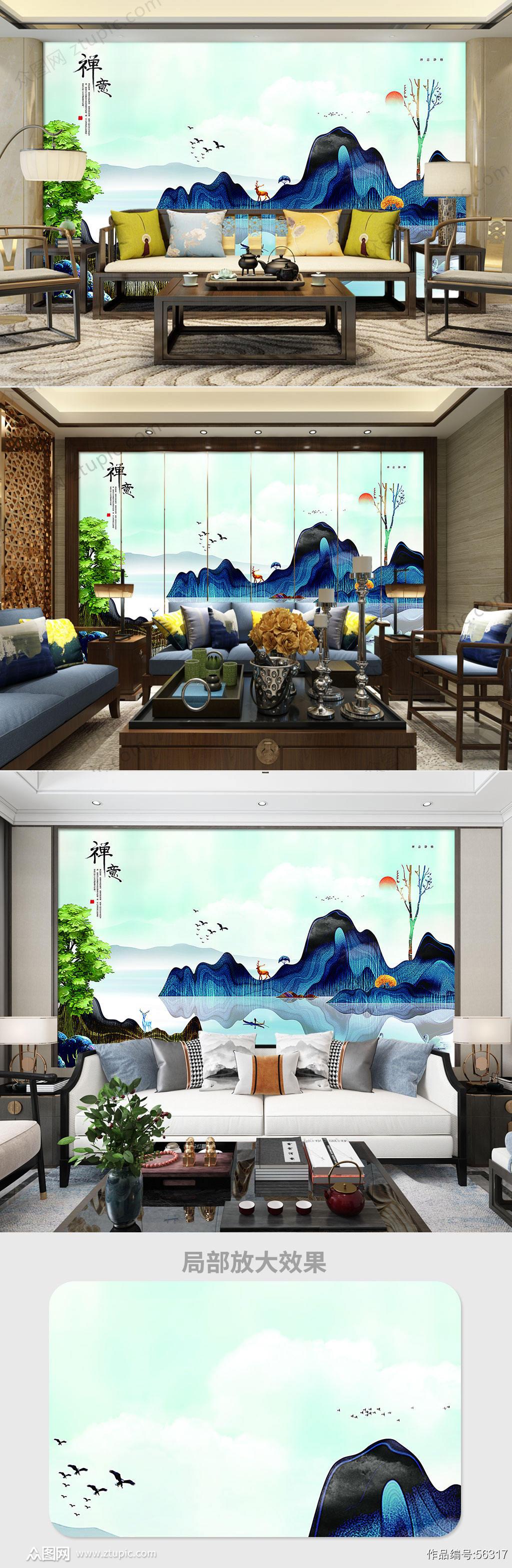 禅意山水电视背景墙素材