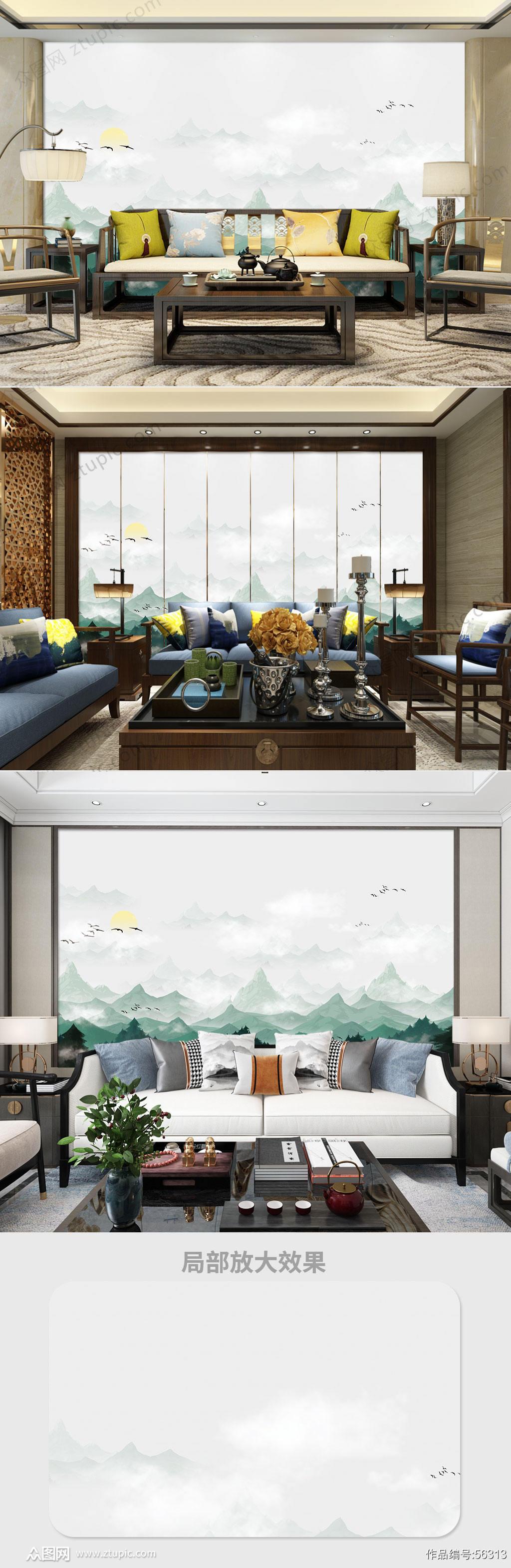 中式手绘山水电视背景墙素材
