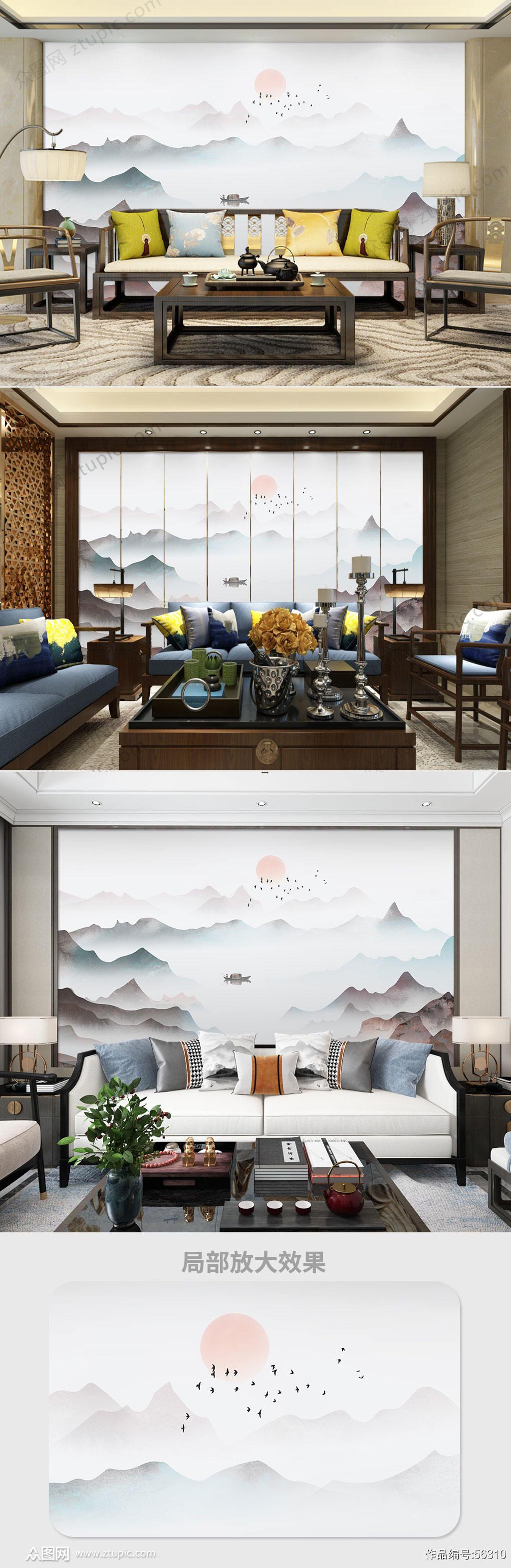 中国风山水背景墙素材