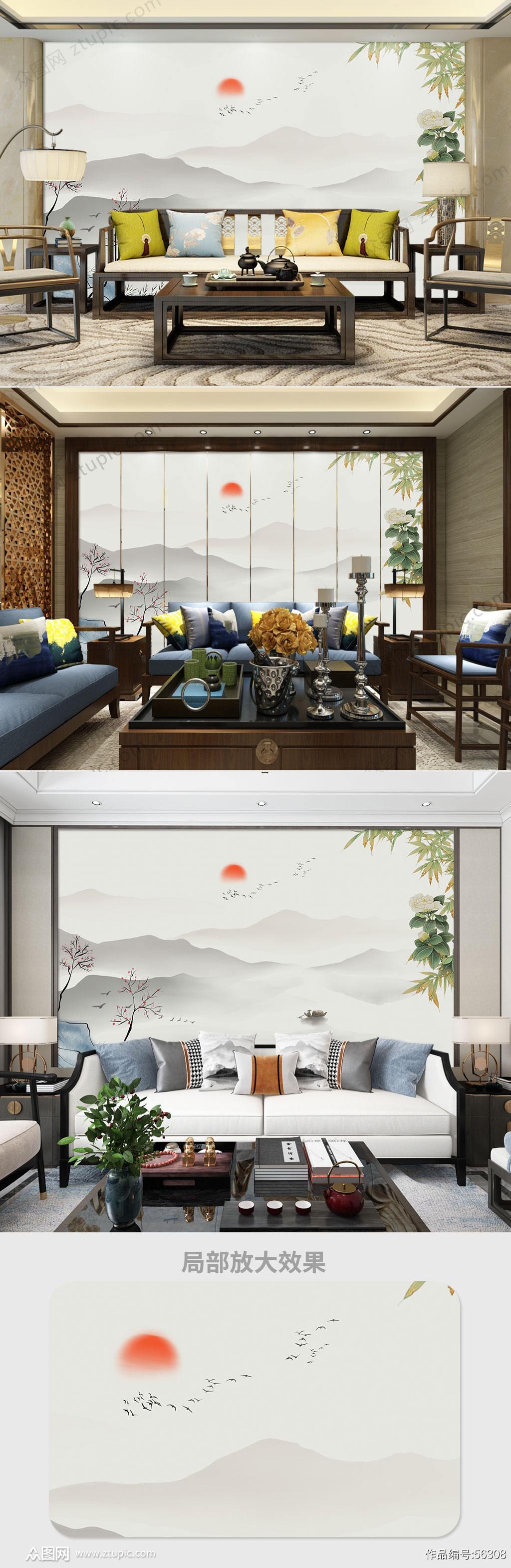 中国风山水背景画素材