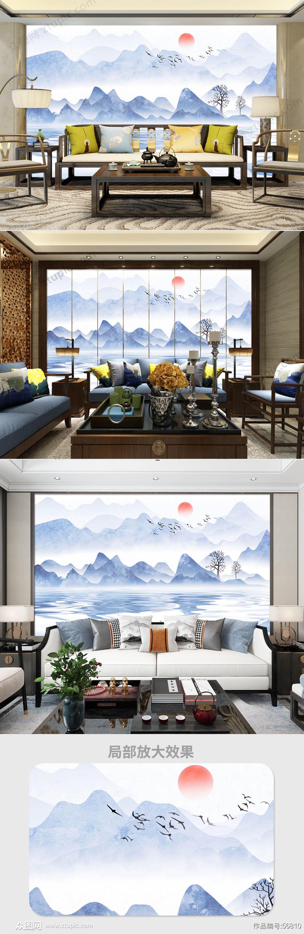 简约山水中式电视背景墙素材