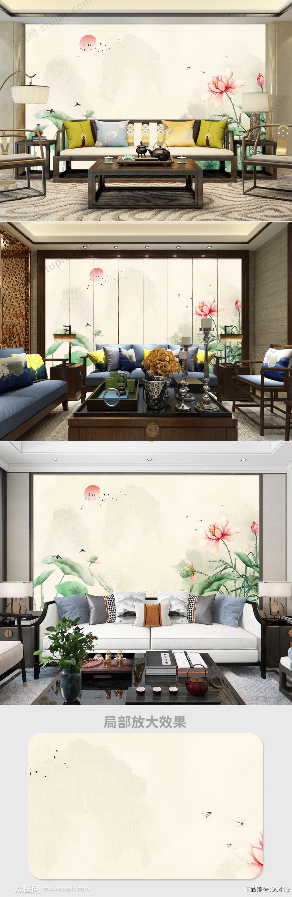 中式荷花背景墙素材