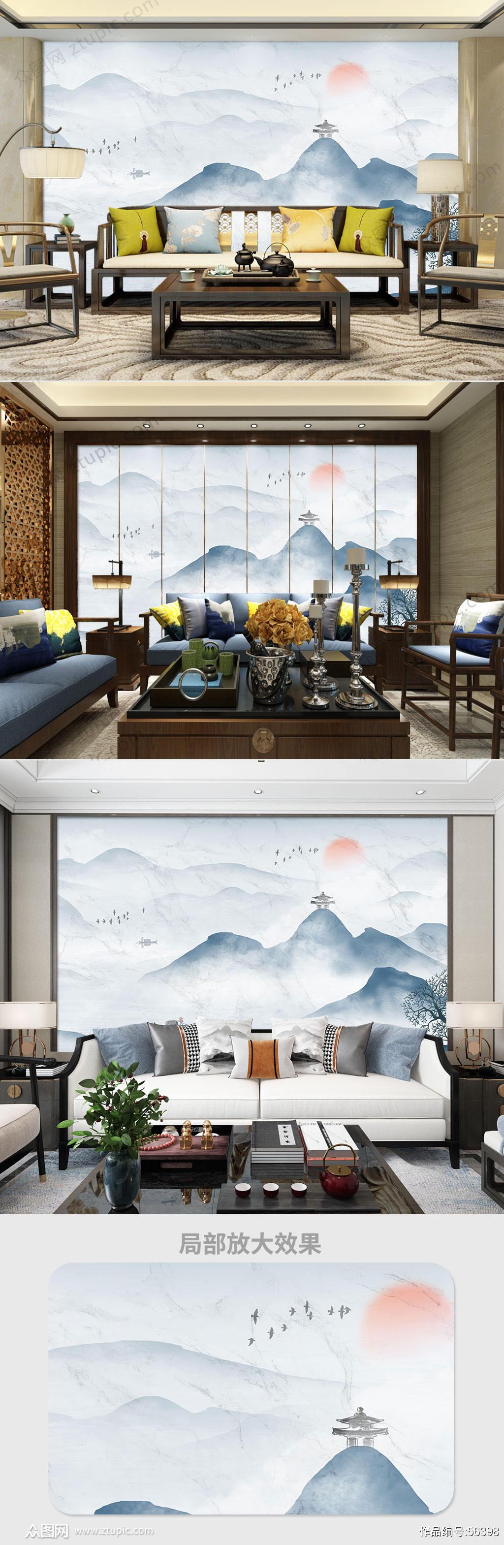 灰色高清大理石纹意境山水电视背景墙素材