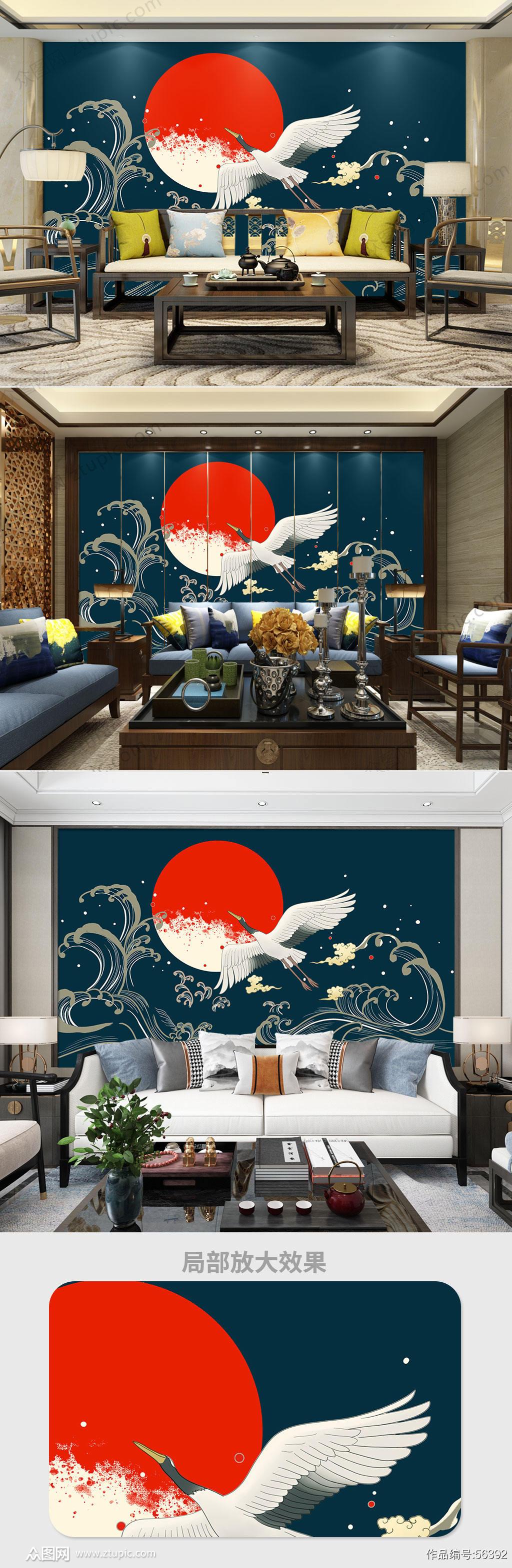 仙鹤祥云传统国潮背景墙素材