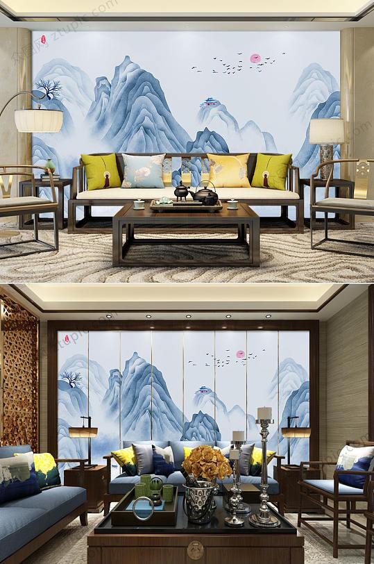 抽象手绘水墨山水背景墙-众图网