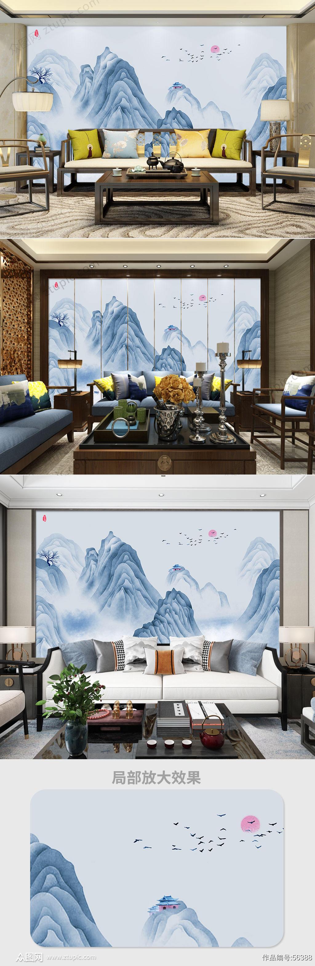 抽象手绘水墨山水背景墙素材
