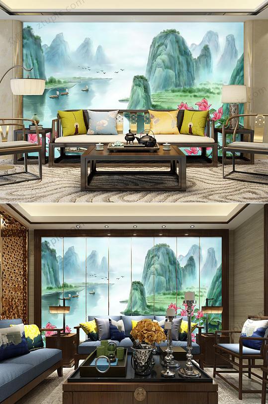中国风水墨背景墙-众图网