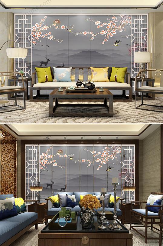 新中式花鸟山水背景墙-众图网