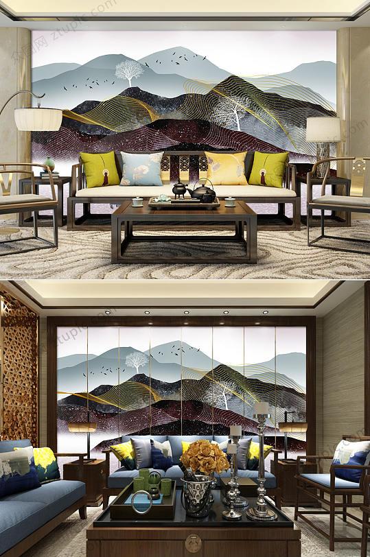新中式大气水墨山水背景墙-众图网