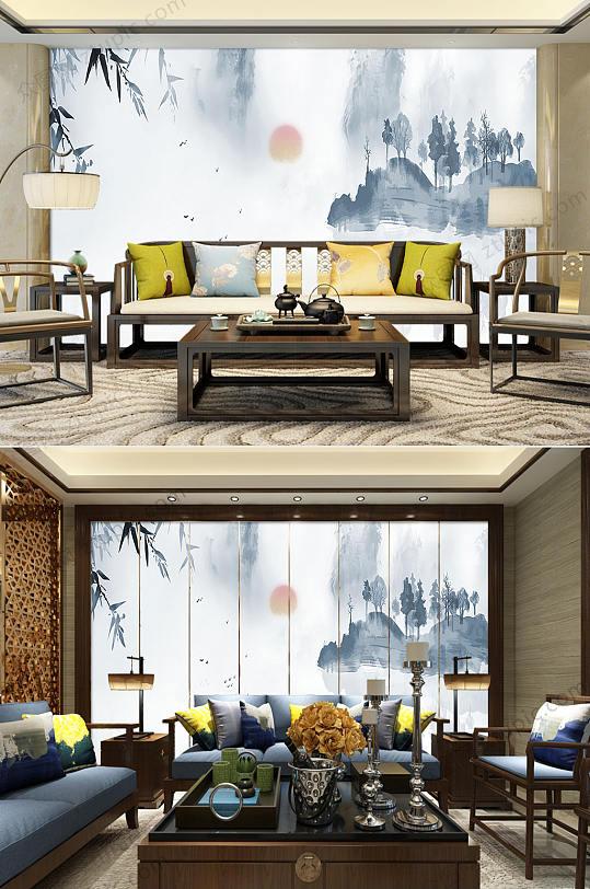 新中式水墨山水蓝色背景墙-众图网