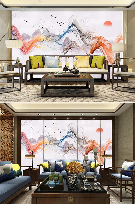 抽象水墨山水电视背景墙-众图网