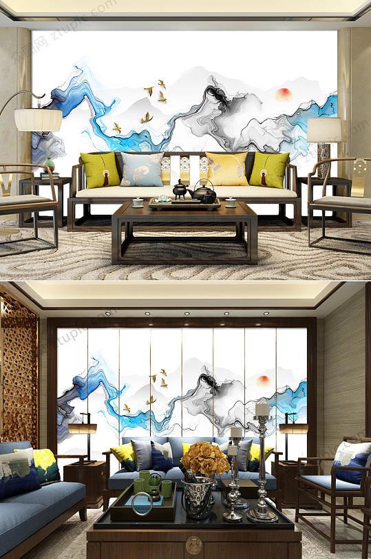 抽象唯美水墨山水背景墙-众图网