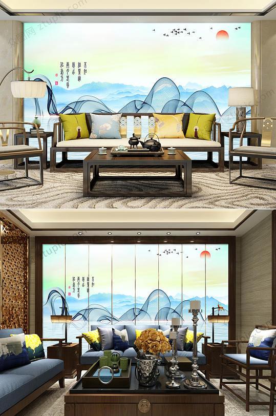 新中式水墨电视背景墙-众图网