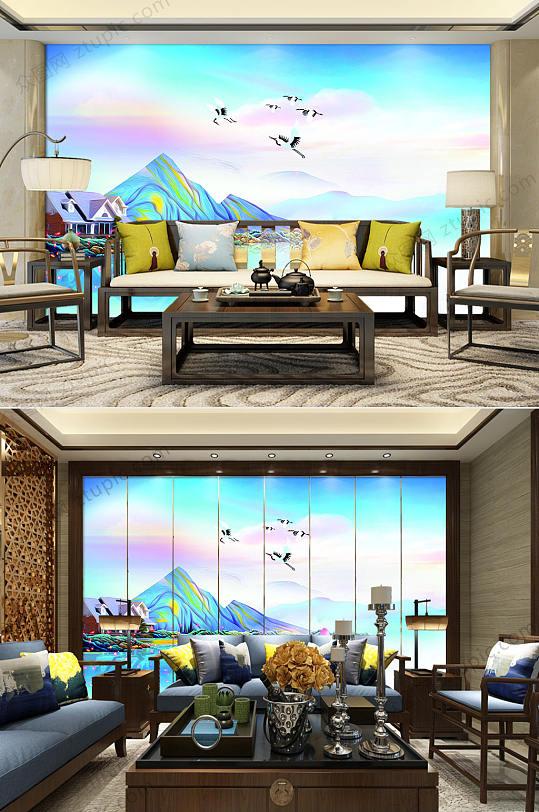 彩色抽象山水风景背景墙-众图网