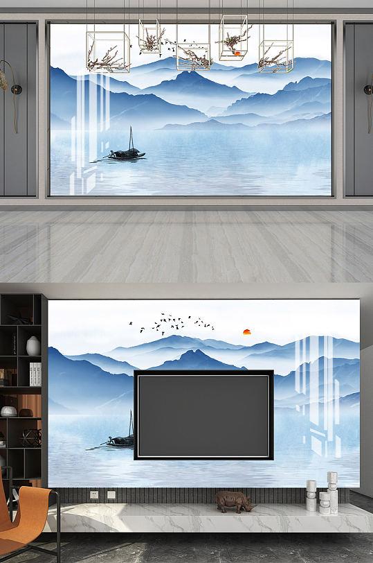 中式山水背景墙水墨画-众图网