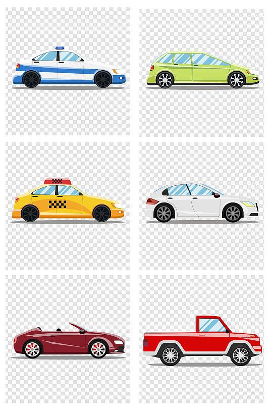 卡通汽车手绘跑车出租车-众图网