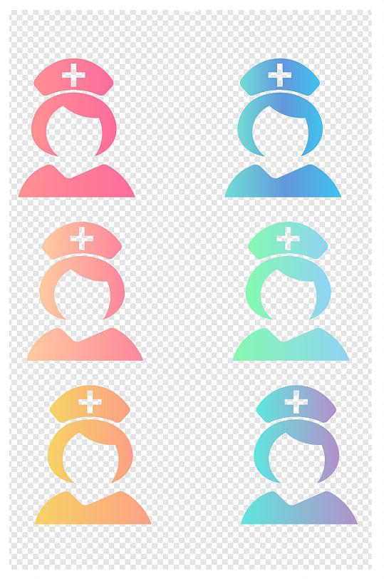 手绘彩色护士图标 护士节素材免抠元素-众图网