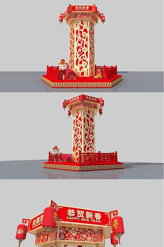 创意新年春节美陈装饰设计-众图网
